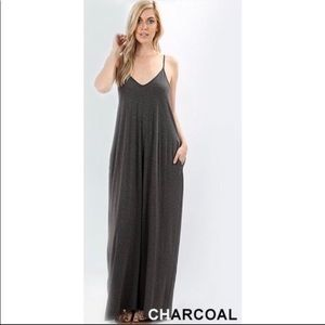 Dresses & Skirts - Charcoal-Gray Maxi Dress-Adjustable Straps-Pockets